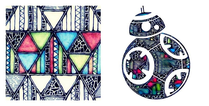 Geometric artwork as style (left), generated artwork (right)