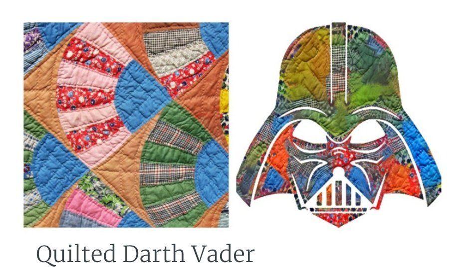Quilt pattern (left), Darth Vader quilt art (right)