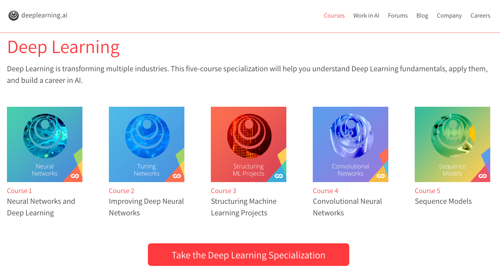 "Overview of the ""Deep Learning Specialization"""