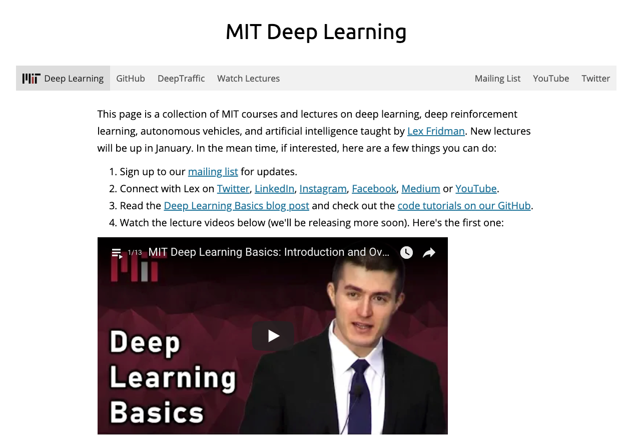 "Landing page of ""MIT Deep Learning"""