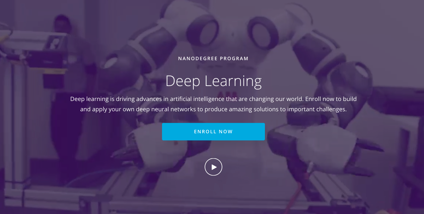 "Landing page of ""Deep Learning NanoDegree Program"""